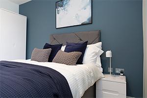 Interior of blue bedroom