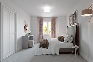 Interior of bedroom with space