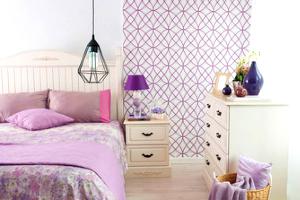 Internal of purple bedroom