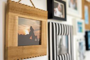 Close up of photo frames