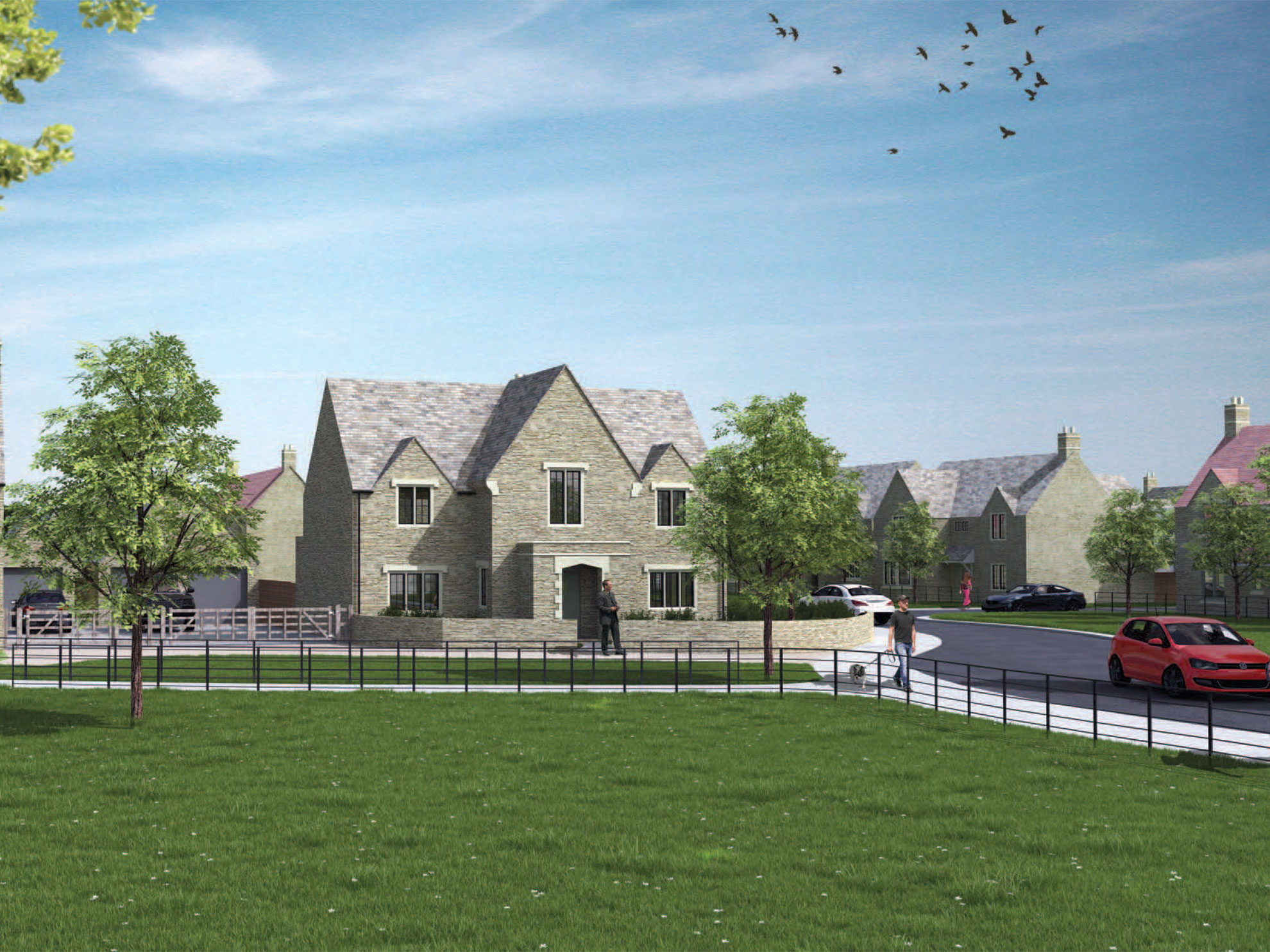 CGI of a new build development from Beech Grove Homes.