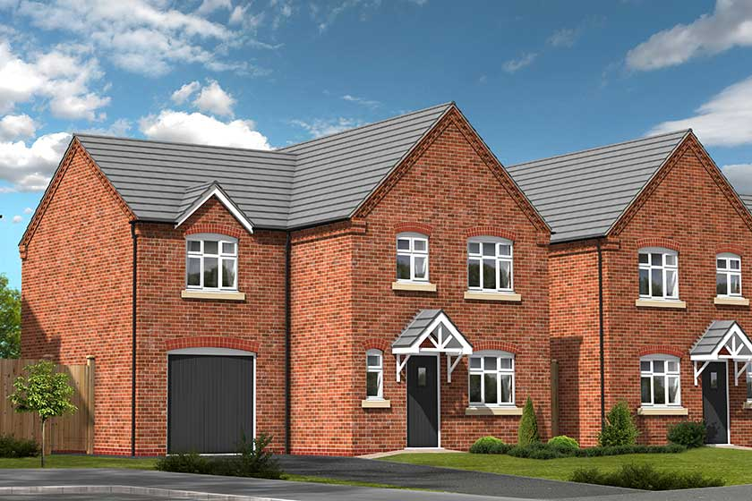 A computer generated image of the proposed exterior of the Empire-style 3 bed detached property.