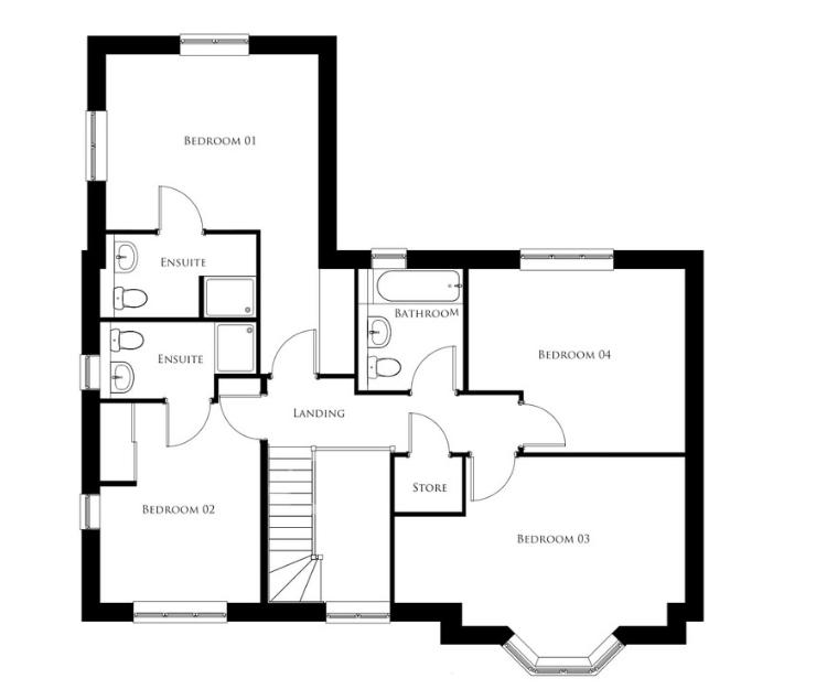 Bullwood Gardens - The Cudmore - first floor plan