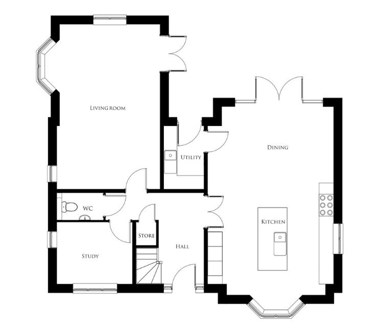Bullwood Gardens - The Cudmore - ground floor plan