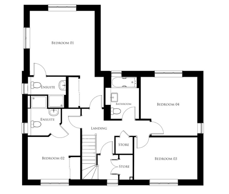Bullwood Gardens - The Belhus - first floor plan