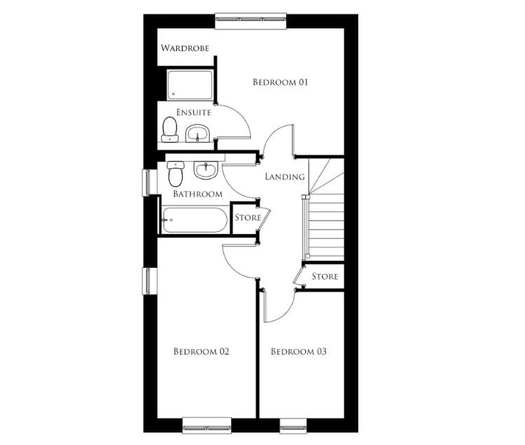 Bullwood Gardens - The Thorndon - first floor plan
