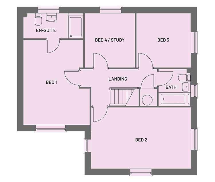 The first floor room layout for the Egremont property type at Orchardside.