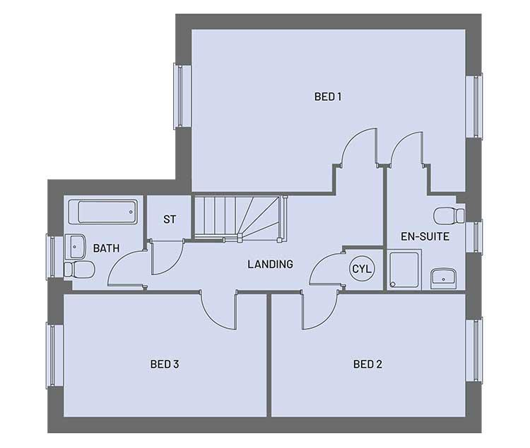 The first floor room layout for plots 8, 12 and 13 of the Empire property type at Orchardside.