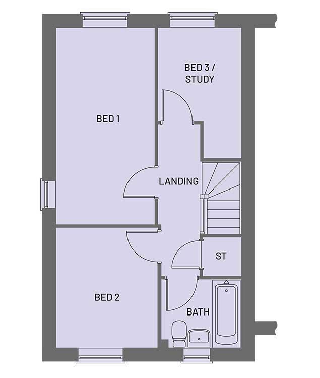 The first floor room layout for the Gala property type at Orchardside.