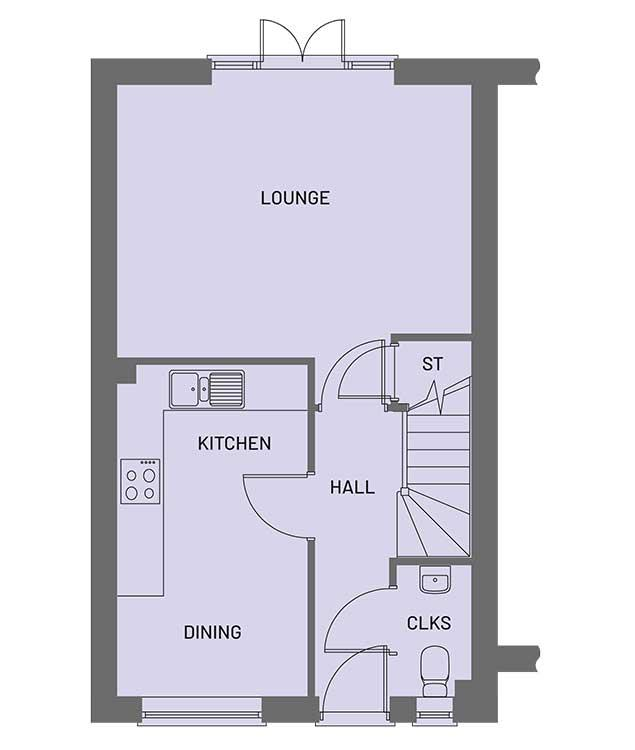 The ground floor room layout for the Gala property type at Orchardside.