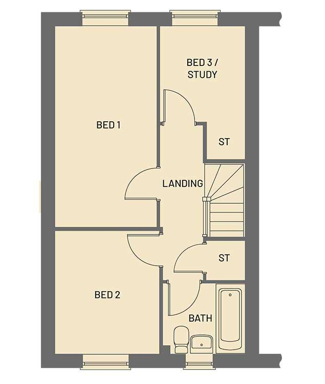 The first floor room layout for the Pippin property type at Orchardside.