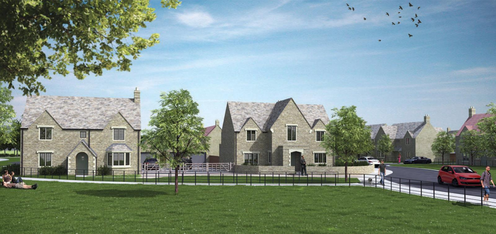 A CGI showing what the Down Ampney Development will look like.