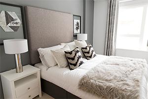 Interior shot of monochrome bedroom