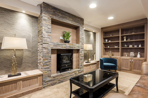 Internal of living room with fireplace