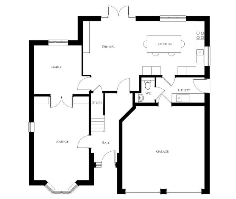 Bullwood Gardens - The Hadleigh - ground floor plan