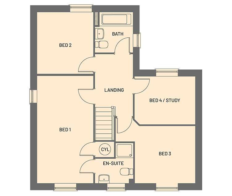 The first floor room layout for the Cortland property type at Orchardside.