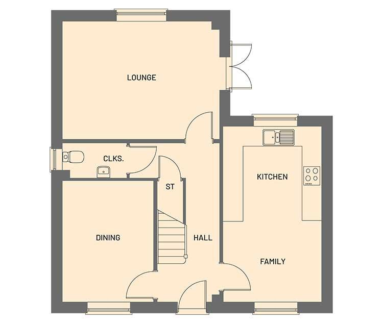 The ground floor room layout for the Cortland property type at Orchardside.