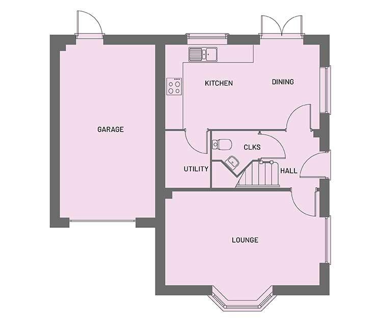 The ground floor room layout for the Egremont property type at Orchardside.