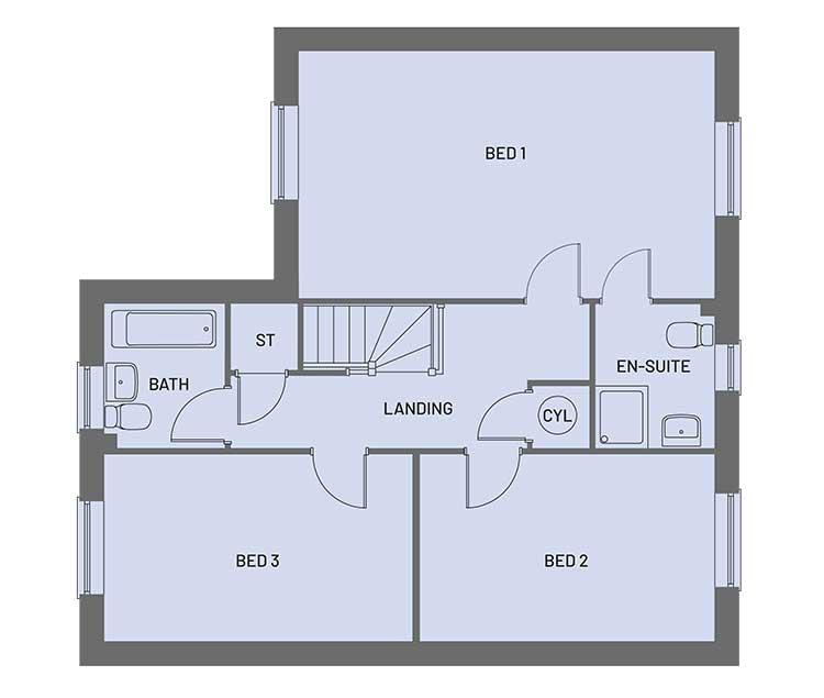 The first floor room layout for plots 4-6, 14, 15,18 20 and 21 of the Empire property type at Orchardside.