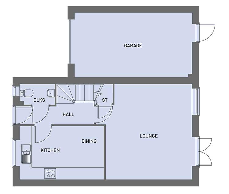 The ground floor room layout for the Empire property type at Orchardside.