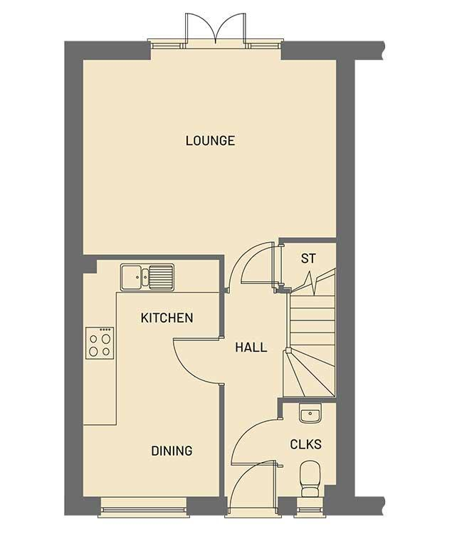 The ground floor room layout for the Pippin property type at Orchardside.